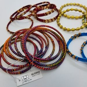 Huge Lot 32 Bangles from India and NWT Sudha Set